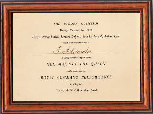 Roytal Command Performance plaque presented to Fred Alexander in 1958